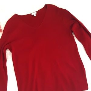 ❤3x15❤ J. JILL size M red vneck pullover sweater